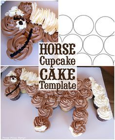 Download your own template to make an amazing horse cupcake cake for your next western birthday party.