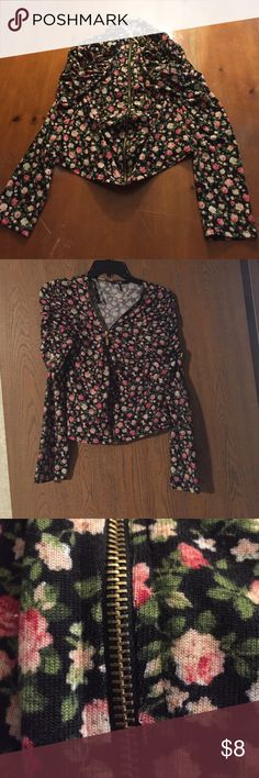 Black Floral Zip Up Cardigan Runs a little small so it fits like a medium. The sleeves are scrunched at the shoulders Papaya Sweaters Cardigans