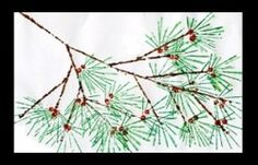 """original directions have you make stamps using dried pasta.  I used cardboard strips dipped in paint for stamping(long side for branches, short side for needles), and q-tips for berries. Very pretty winter project. Added just a bit """"white snow"""" glitter for a little bling. Diagonal composition/use of everyday object to create art."""