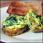 From the Fancy Egg Dishes Breakfast Recipe Collection. Cute and elegant little fittatas that are flavorful and easy to make.  If desired, you could also add 1/4 cup cooked and crumbled bacon or sausage with the spinach.