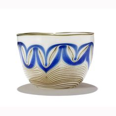 Buy online, view images and see past prices for Orient and Flume studio glass bowl; opaque white with blue and gold pulled feather pattern and gold lip wrap; Invaluable is the world's largest marketplace for art, antiques, and collectibles. Gold Lips, Feather Pattern, Decorative Bowls, Glass Art, Studio, Antiques, Tableware, Blue, Stuff To Buy
