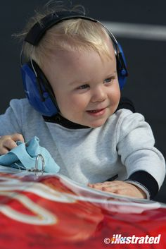 How can Keelan Harvick make ear protection look so cute? (Photo by Jeff Robinson, Bristol Motor Speedway, March 2014.)