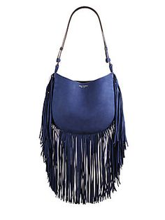 Tory Burch Fringed Nubuck Hobo Bag
