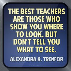 """""""The best teachers are those who show you where to look, but don't tell you what to see."""" - Alexandra K. Trenfor"""