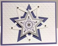 Handmade Christmas/Winter/Star card featuring the Many Merry Stars Stamp Set from Stampin' Up! Christmas Cards To Make, Christmas Settings, Handmade Christmas, Christmas Ideas, Xmas, Stampin Up Many Merry Stars, Christmas Brochure, Endless Wishes, Star Cards