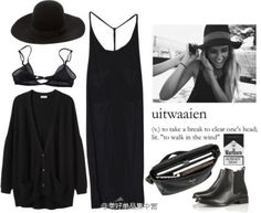 all black ✤ clothes style