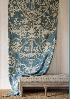 Womad Fabric Panel from Lewis & Wood English Ethnic Collection. A bold abstract fabric panel with stylised flowers and motifs printed in mottled blue and beige on a pure linen ground. Designed by Su Daybell. Textile Design, Fabric Design, Interior And Exterior, Interior Design, Boho Vintage, Creation Deco, Ivy House, Banquette, Fabric Wallpaper