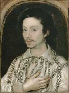 Actor Nathan Field (of the King's Men) in a shirt decorated with blackwork embroidery, 1615. English costume history.