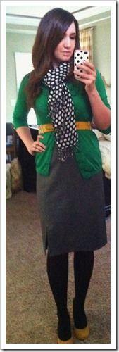 green cardi, polkadotty scarf, grey skirt... I even own those yellow pumps!