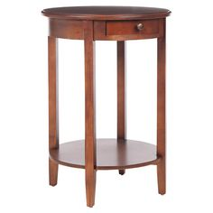 Elm wood end table with one drawer and lower shelf.        Product: End table    Construction Material: Elm wood ...