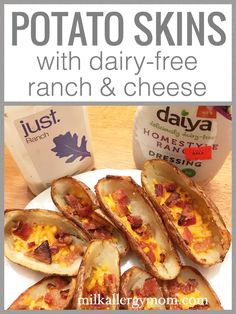 Dairy-Free Potato Skins With Cheese & Ranch! Recipe at Milk Allergy Mom, Super Bowl Fun. Dairy Free Baking, Dairy Free Treats, Wheat Free Recipes, Allergy Free Recipes, Kid Recipes, Milk Allergy, Egg Allergy, Dairy Free Appetizers, Dairy Free Cheese