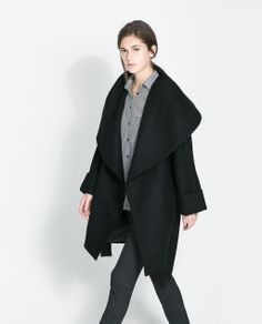 Image 3 of WOOLLEN WRAPAROUND COAT from Zara