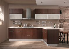 Wenge wood is a timeless sophisticated addition to your kitchen!  #Eurostyle #Modern #Gray #Cabinets #Kitchens #Homes #Homedecor #DIY #Remodel #Renovation #Luxury #Simplistic