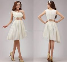 Wholesale ZM-2014 New Women's Double-shoulder Irregular Length Chiffon Short Formal Gowns Slim Waist Knee-Length Sweetheart A-Line Bridesmaid dresses, Free shipping, $64.7/Piece | DHgate Mobile