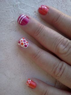 Pink, Orange, and White Summer Nails