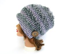 Violet Opal Cloche - Knit Flapper Hat - Women's Cloche - 1920s Cloche Hat - Chunky Hat with Button - Asymmetrical Hat - Knit Accessories by BettyMarieJones on Etsy