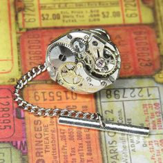 be10aec65524 Men's BULOVA Watch Tie Tack Lapel Pin - Torch SOLDERED - Steampunk Silver  Multi Tiered Movement - Birthday Wedding Anniversary Gift