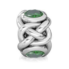 029807832 Celtic Knots - Emerald Green Round CZ Lights - Fits Pandora and all  compatible brands Knot. Bella Fascini