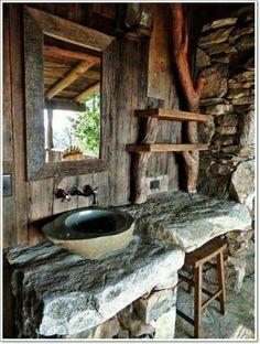Rustic Bathroom Designs, Rustic Bathroom Decor, Rustic Bathrooms, Bathroom Styling, Bathroom Interior Design, Rustic Decor, Western Decor, Diy Bathroom, Natural Bathroom