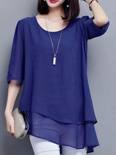 Casual Asymmetric Hem Double Layer Plain Chiffon Blouse