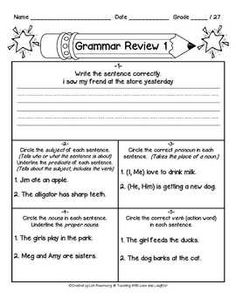 2nd Grade: Grammar Review Sheets Lessons 1-10.