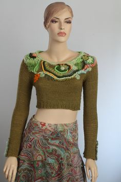 Boho Chic Chunky   Freeform Crochet Hand Knitted by levintovich