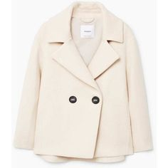 Double-Breasted Coat (£70) ❤ liked on Polyvore featuring outerwear, coats, pink wool coats, pink coats, wool lined coat, fur-lined coats and wool coats