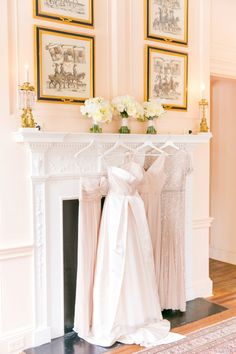 Blush Monique Lhuillier Ballgown + Neutral Bridesmaid Dresses   Blush Wedding at Lowndes Grove Plantation by Charleston wedding photographer Dana Cubbage