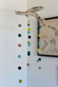 DIY Driftwood and Felt Ball Mobile // Life with a Dash of Whimsy