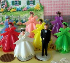 Vintage Plastic Wedding Party Cupcake Toppers