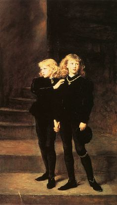 "The sons of Edward IV, ""The Princes in The Tower,"" represented here by Sir John E. Millais. Ostensibly, the two were put there for safekeeping by their uncle Richard until the elder, Edward V, could be crowned. Richard claimed the crown for himself, however, and the two boys were not seen after late 1483. They were twelve and nine years of age."