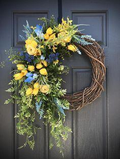Blue Yellow Spring Wreath Spring Wreaths Spring Door Wreaths Yellow Blue Wreath Tulip Wreaths Door Decor Spring Gift for Her Wreaths Diy Spring Wreath, Spring Door Wreaths, Easter Wreaths, Wreaths For Front Door, Diy Wreath, Holiday Wreaths, Wreath Ideas, Tulip Wreath, Purple Wreath