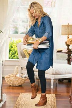 Tencel Denim Shirt Dress from Soft Surroundings How To Wear Ankle Boots, How To Wear Leggings, Dresses With Leggings, Black Leggings, Ankle Boots Leggings, Short Boots With Dresses, Short Boots Outfit, Ankle Booties, Black Tights
