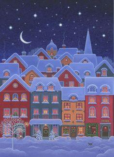 try as possible cellphone screensaver = Eva Melhuish Christmas Town, Christmas Scenes, Christmas Art, Winter Christmas, Illustration Noel, Christmas Illustration, Christmas Drawing, Christmas Paintings, Winter Art