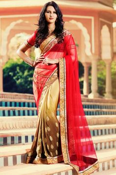 Dark pink, beige georgette and net saree with coffee, pink art silk blouse http://www.andaazfashion.com/womens/sarees