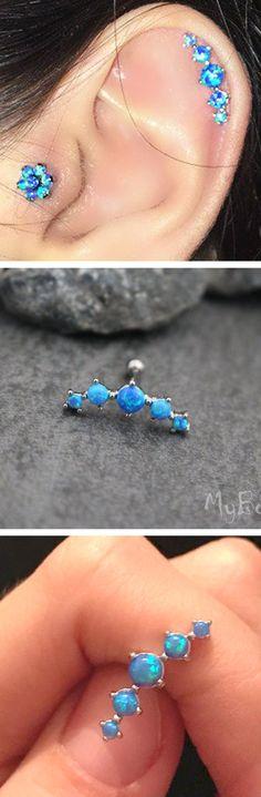 Unique Cartilage Ear Piercing Ideas - Large Opal Blue Helix Earring Ring Stud Tragus Floral Flower - www.MyBodiArt.com