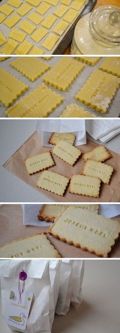 easy Christmas biscuits as gifts! letter-shaped cookie-cutters WOULD be a worthwhile investment. Bolacha Cookies, Galletas Cookies, Biscuit Cookies, Yummy Cookies, Shortbread Recipes, Cookie Recipes, Diy Xmas, Christmas Biscuits, Cookie Gifts