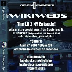 TONIGHT in QUEENS NYC I'll be rocking with kuya @djrolirho of the legendary 5th Platoon/IBP along with some of the illest tri-state veterans/up-and-comers on the cut!  Much love goes out to the @openfaders familia it is an honor to rock with y'all!  Saludos! (Peep the stream links below!) Cc @skratchpadla @battleave  Repost from @openfaders - Tonight! The #wikiweds LA2NY Episode featuring @djdonpaco from Skratchpad LA.  Tune in to #facebooklive : >> http://ift.tt/1VSKogM…