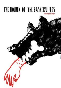 Designer: Kubica Sebastian poster title: The Hound of the Baskervilles year of poster: 2015 poster nationality: Polish print technique: offset size in cm: inches: x subject: movie The Art of Poster - The largest collection of Polish posters Graphic Design Posters, Graphic Design Typography, Graphic Design Inspiration, Graphic Art, Gig Poster, Book Illustration, Graphic Design Illustration, Book Cover Design, Book Design