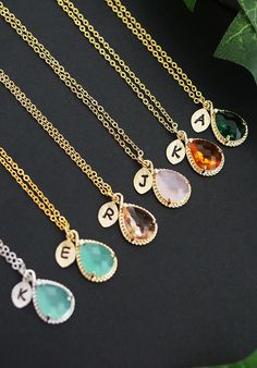 Personalized necklace from EarringsNation initial necklace mint and gold weddings mint + gold weddings peach weddings pink weddings emerald weddings orange weddings bridesmaid gift christmas gift
