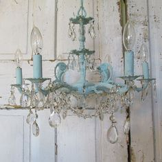 Blue chandelier hand painted distressed robins by AnitaSperoDesign