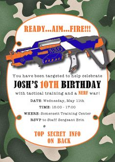 Josh's 10th - Nerf Party - Josh drew the nerf gun and we put it on the card. Ordered on cardstock from Costco.