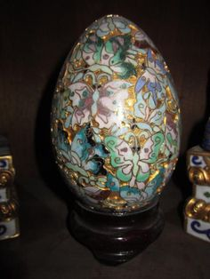 Vintage Chinese Cloisonne Egg comes from the Ruby Lane Shop of Something Wonderful.