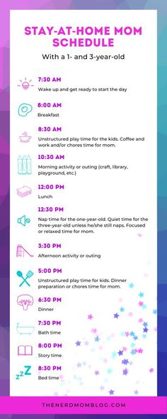Stay-at-Home Mom Schedule for One- and Three-Year-Old The Nerd Mom 1 Year Old Schedule, Daily Schedule For Moms, Baby Schedule, Toddler Schedule, Daily Schedules, Schedule For Toddlers, Morning Activities, Toddler Activities, Toddler Learning