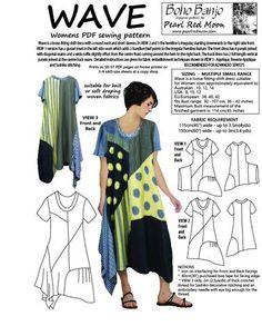 WAVE DRESS, Small size range, womens PDF sewing pattern