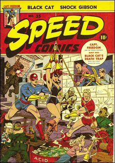 Speed Comics #35, 1944. Cover art by Alex Schomburg.