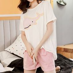 Buy Endormi Couple Matching Loungewear Set: Whale Print Short-Sleeve T-Shirt + Striped Shorts at YesStyle.com! Quality products at remarkable prices. FREE Worldwide Shipping available!