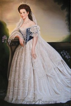 Sisi in Hungarian court dress by Albert Edwin Flury. Elisabeth of Austria (due to the movie also known now as Sissi, 1837-1898)