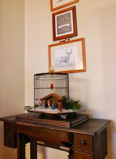 Nativity set in a bird cage!