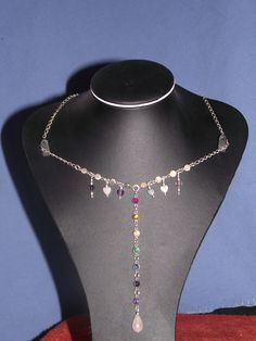 Rainbow necklace silve with emerald, sapphire, citrine, amethyst, ruby,amberand iolite